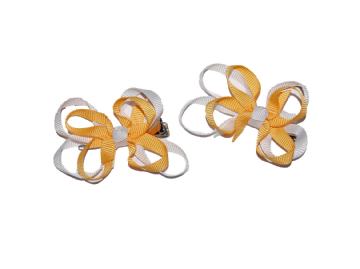 Bow Clips - Gold/White